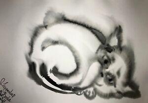 ORIGINAL-Malerei-PAINTING-zeichnung-art-drawing-black-schwarz-katze-cat-schwarz