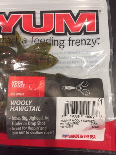"""YUM 4.5/"""" Wooley Hawg Tail  7 Watermelon Red"""
