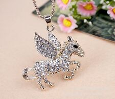  SALE  18k Gold Plated Crystal Flying Horse Pendant Necklace Chain