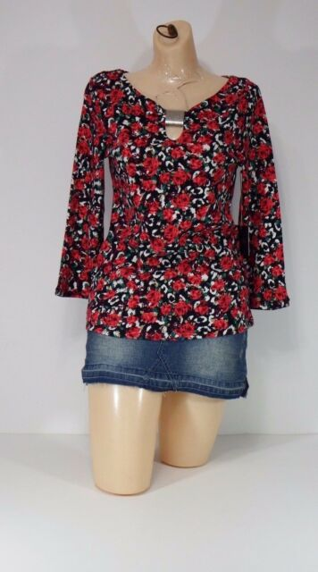 womens rafaella small shirts casual evening wear quarter sleeve cowl neck