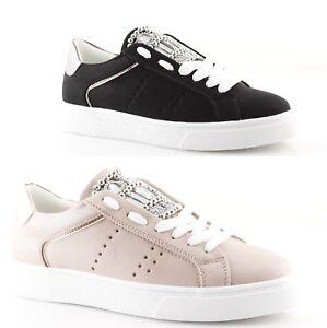 Caricamento dell immagine in corso Sneakers-donna-basse-nere -rosa-stringate-strass-borchie- 86b7bf48980