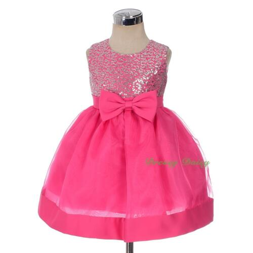 Glitz Sequined Wedding Flower Girl Formal Occasion Dresses Baby Size 0-4 FG355
