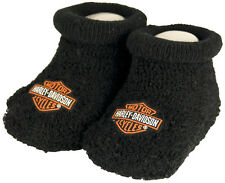 Harley-Davidson® Baby Boys-Girls Boxed Black Booties Shoes 0-3 Months S9LBL20HD