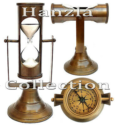 Nautische Schiff-Sand-Timer mit Messing Kompass antiken maritimen Stundenglas