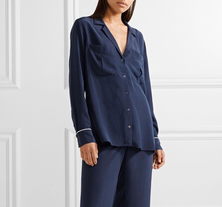 NWT Equipment Sonny Silk Shirt Pajama Top Atlantic Deep (Navy) Größe XS,S,M