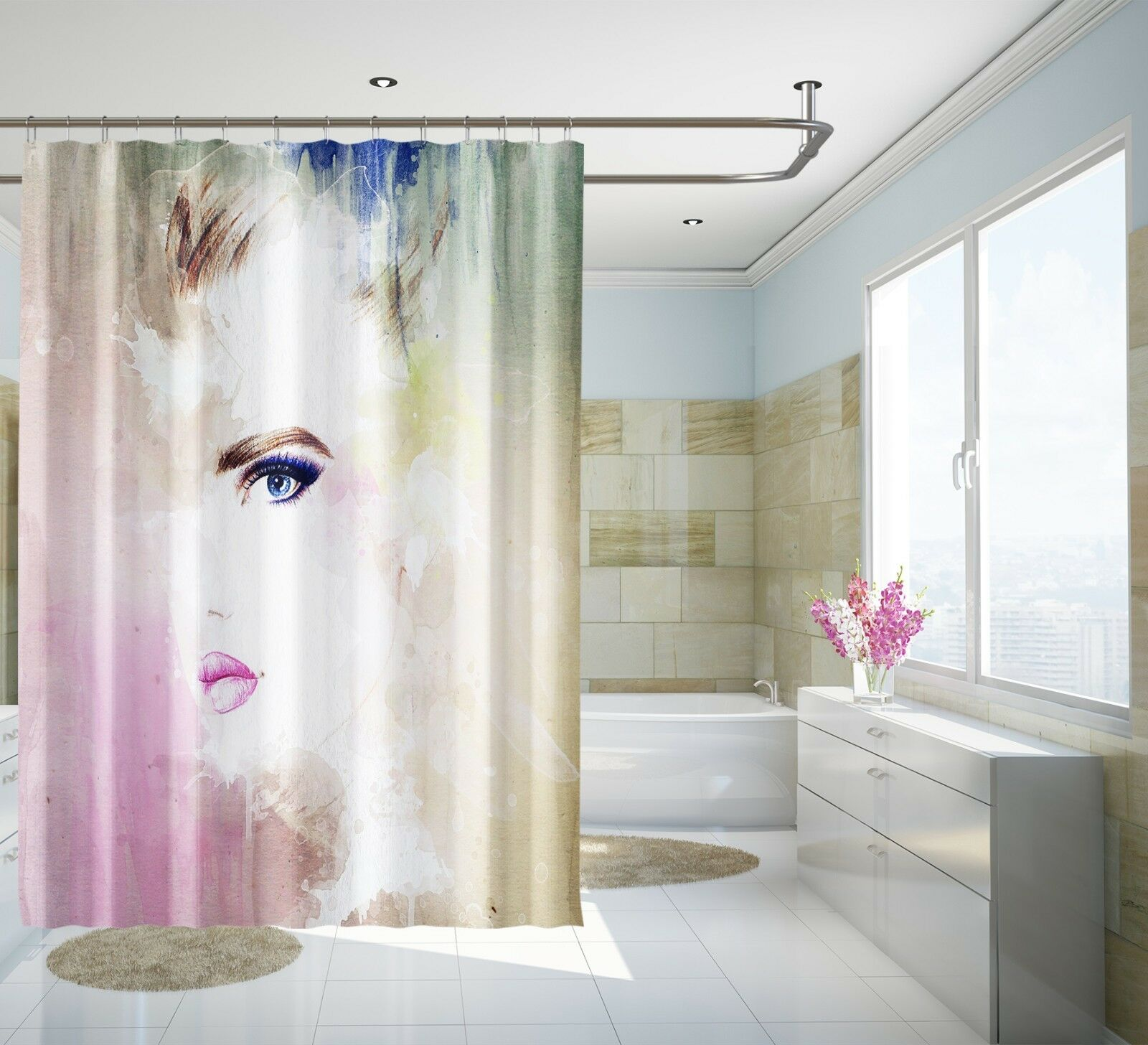 3D Pretty Girl 17 Shower Curtain Waterproof Fiber Bathroom Home Windows Toilet