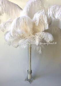 10pc White Ostrich Feathers used for Wedding Prom Eiffel Tower Vase Centerpiece