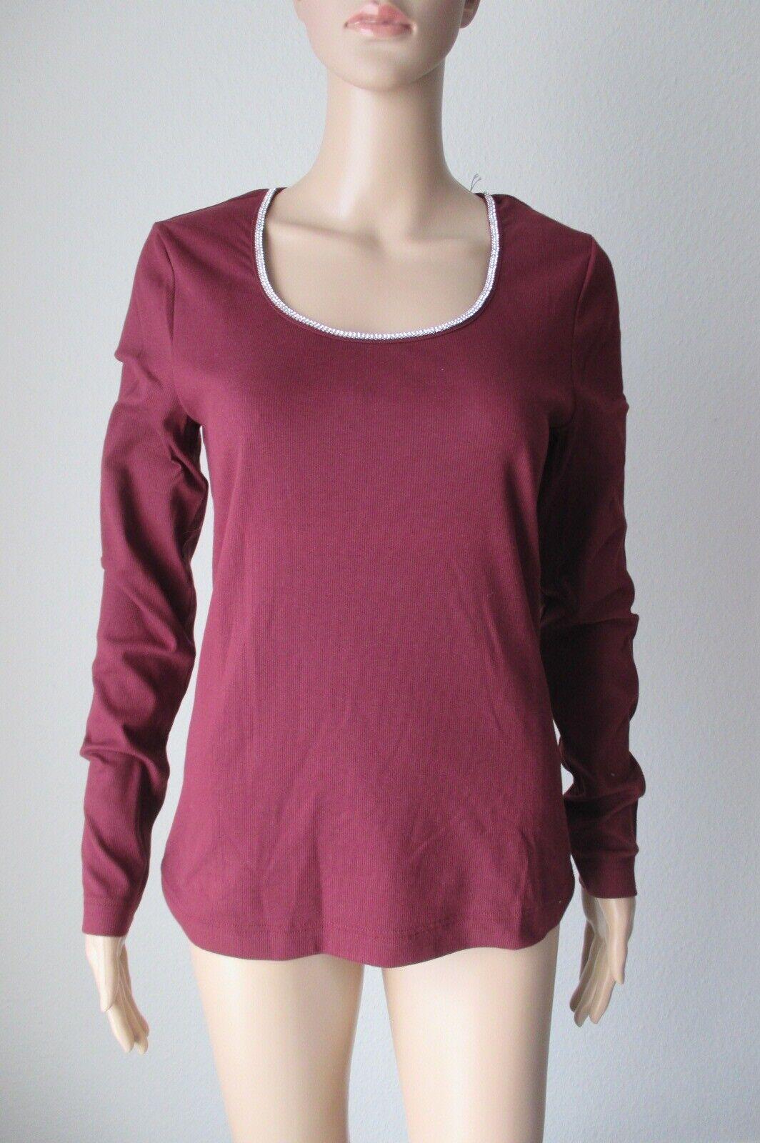 Efix langarm Shirt mi Swarovski Steinen am Ausschnitt, Farbe bordeaux, Größe 44