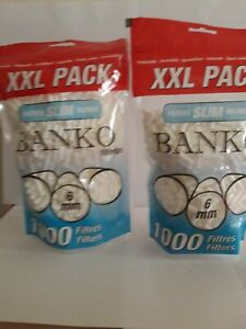 Lot-2-Sachets-1000-Filtres-a-cigarettes-slim-BANKO-6mm-Feuille-Rouler-Tabac