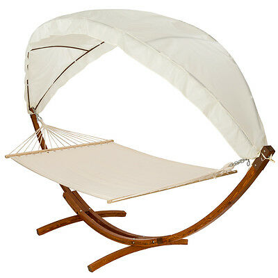 XXL PINE WOODEN DOUBLE HAMMOCK WITH HAMMOCK FRAME STAND WITH ROOF BED SUN GARDEN