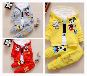 3pc Toddler kids baby boys Girls mickey Hoode coat+T shirt+pants clothes set