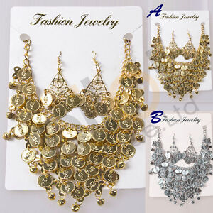 NEW-Tribal-Necklace-Earring-Jewelry-Choker-Dance-Costume-golden-silver-coins