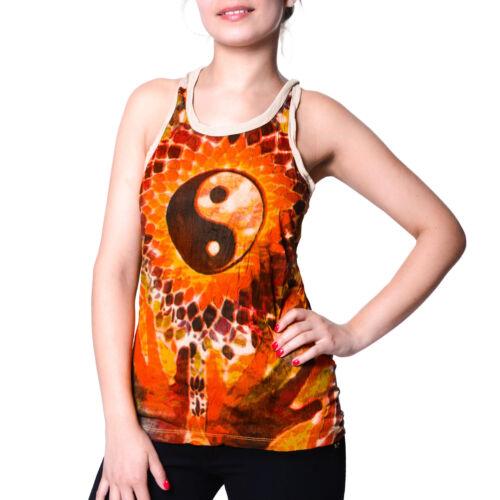 Damen T-Shirt Tank Top Sure Ying Yang  70er Retro Trägertop Hippie Goa