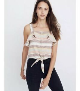 ea4790fd661c8b NWT MADEWELL Texture   Thread Ruffle Tie-Front Tank Striped Medium ...