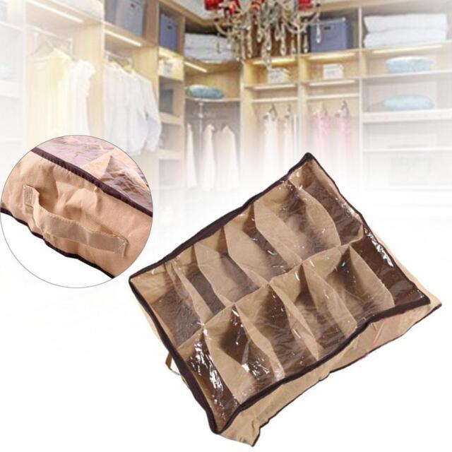 12 Pair Under Bed Shoe Organizer Nonwovens fabric Foldable Storage Box Holder SZ