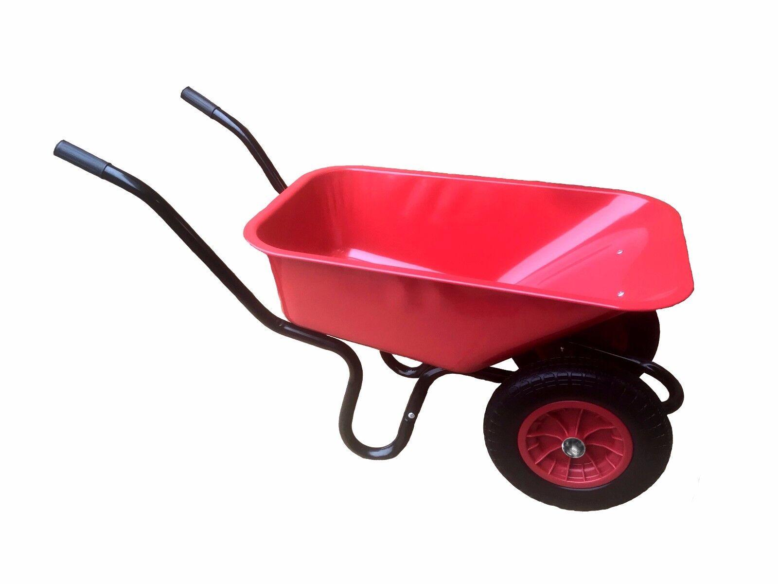 110L DOUBLE wheelbarrow - with pneumatic wheel and red metal body wheel barrow