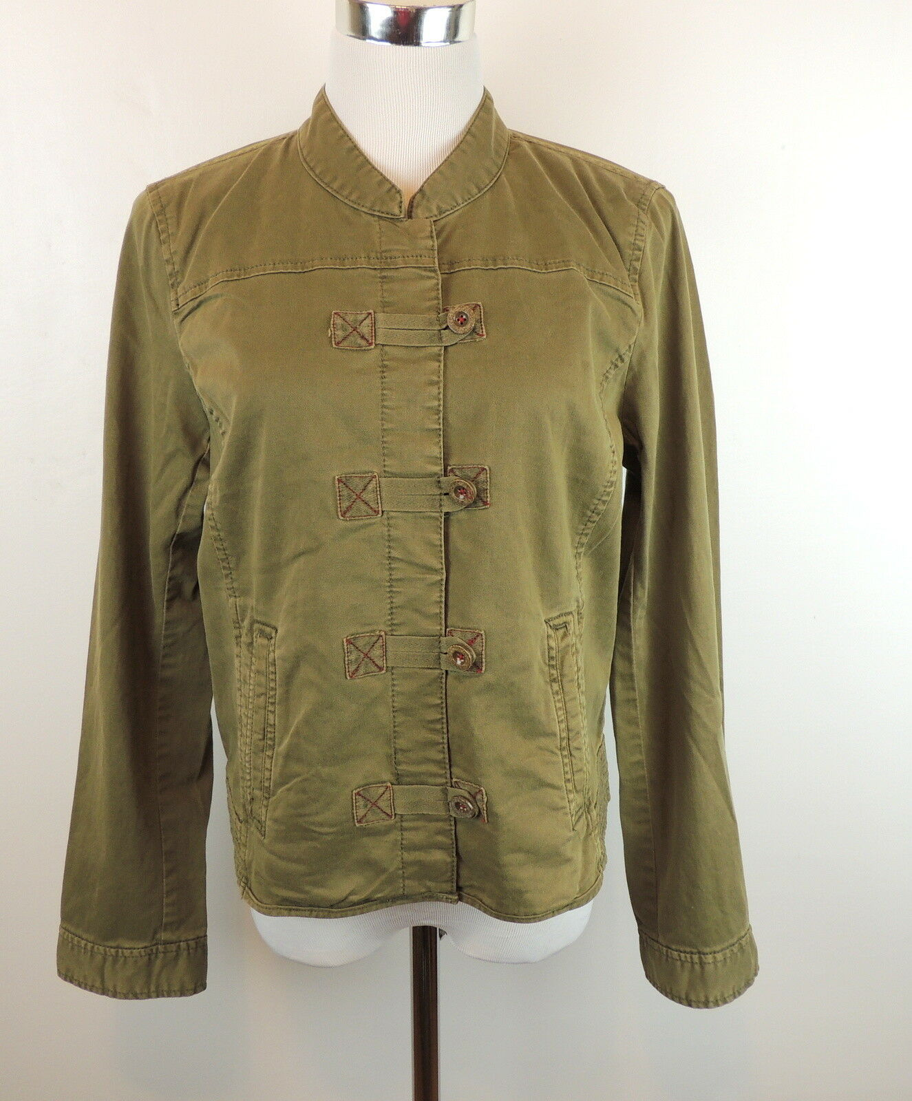 Anthropologie L Military Jacket Green Button Front NEW Cotton Spandex