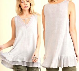 a1b6562f752b0 Umgee Top Size XL S M L Tank Solid Lace Silver Swing Womens Boutique ...