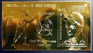 St. Vincent Neuf Sans Charnière Lou Gehrig Or 23kt Timbres Baseball New York Yankees Sport-afficher Le Titre D'origine Apparence éLéGante