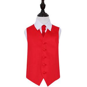 DQT-Satin-Plain-Solid-Red-Boys-Wedding-Waistcoat-amp-Cravat-Set