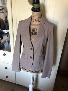 Esprit-Femme-en-coton-beige-a-fines-rayures-Smart-Tailored-Blazer-Jacket-Taille-8