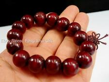 12mm Tibet Buddhist Chinese Oriental Wood Mala Bracelet Prayer Bead Red Cherry