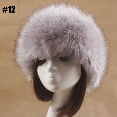 Frauen-Dame Russian Fluffy Faux Fuchspelz Hut Stirnband Winter Waschbär Cap