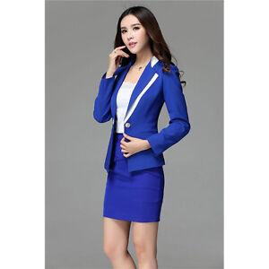 Royal Blue Ladies Skirt Suit Female Business Suit Women Office