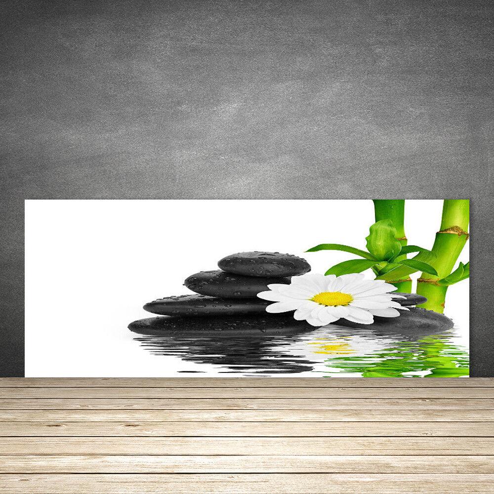 Crédence de cuisine en verre Panneau 125x50 Floral Pierres Fleurs Bambou