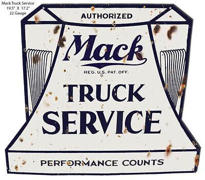 VINTAGE ANTIQUE Style Metal Sign Mack Truck Service Cutout 17x19