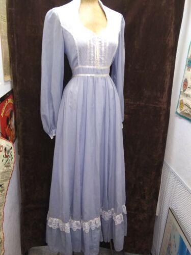 Vintage 1970's Baby Blue & White Mesh Peasant Dres
