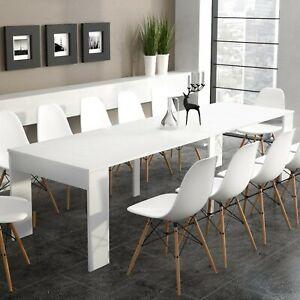 Detalles de Mesa de comedor consola extensible hasta 301 cm mesa cocina,  color Blanco Brillo