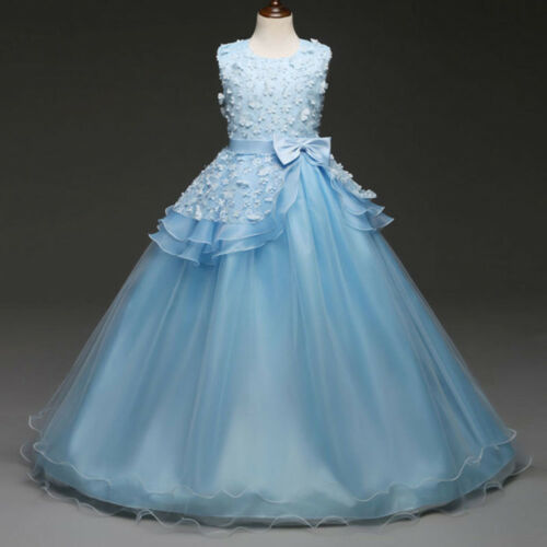 Kids Child Floral Baby Girl Princess Bridesmaid Pageant Gown Party Wedding Dress