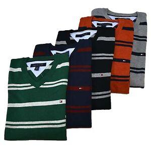 tommy hilfiger sweater mens striped v neck long sleeve. Black Bedroom Furniture Sets. Home Design Ideas