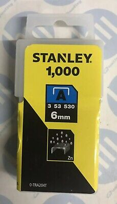 1000 6mm Stanley Light-Duty Staples for the TR45 Stapler 0-TRA204T Type 53