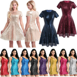 Women Sparkly Long Evening Cocktail Ball Gowns Vintage Party Wear Semi Formal Dress