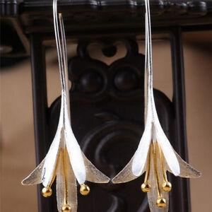 Silver-Long-Flower-Earrings-for-Women-New-Design-Lovely-Girls-Christmas-Gift-UK