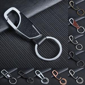 Mens-Creative-Metall-Leder-Schlusselanhanger-Halter-Auto-Keychain-Geschenke