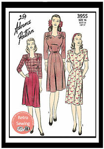 1940-039-s-Pretty-Tea-Frock-Sewing-Pattern-Reproduction