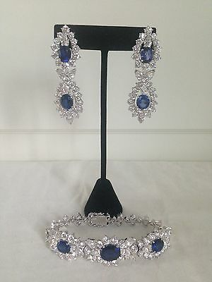 Jolie Gabor 925 Sterling Silver Lab Saphire and Diamond Earring and Bracelet Set