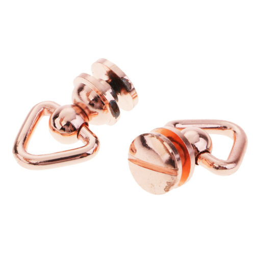 2x Triangle Rotating Ring Solid Brass Screw Rivet for Leather Craft Bag Luggage