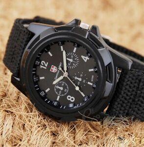 Mens-Sport-Watch-Canvas-Analog-Quartz-Waterproof-Fahion-Military-Watches-Black
