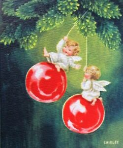 Vintage Christmas Card.Details About Vintage Christmas Card 1950s Cute Angel Girls Swinging On Red Ornaments