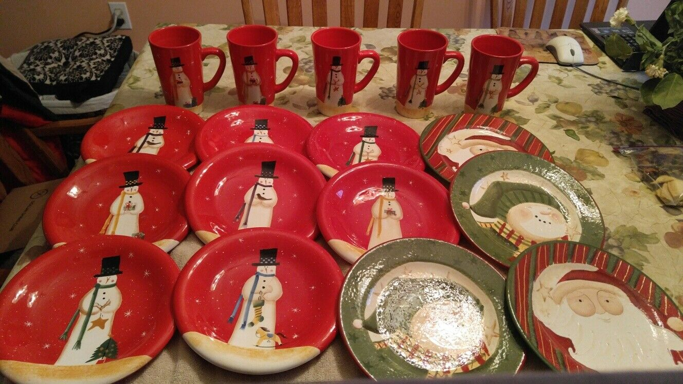 Christmas Mugs and Dessert Plates- Pre-owned, Park Designs and JC Penney