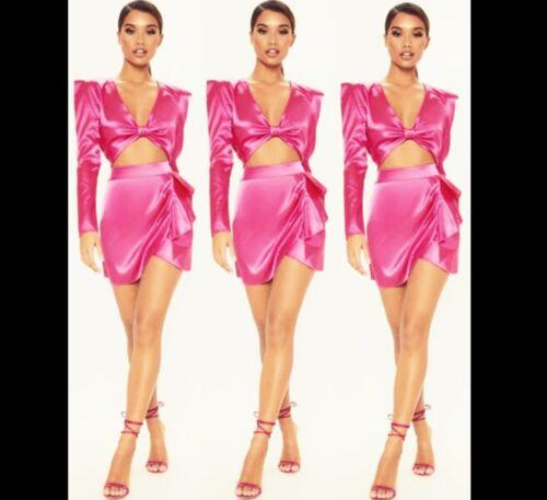 Women Barbie Pink Wrap Dress Cut Out Party Bodycon Skirt  Long Sleeve Blazer Top