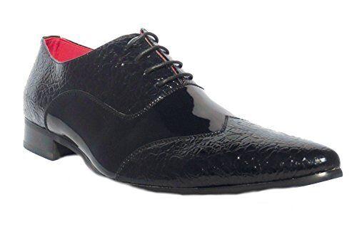 Herren Neu Schwarz Felini Zx Leder Einlage Patent Formell Hochzeit Party Schuhe