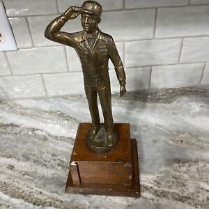 Brass & Wood Exxon Gas Station Attendant Statue Figure Trophy Award Oil Company