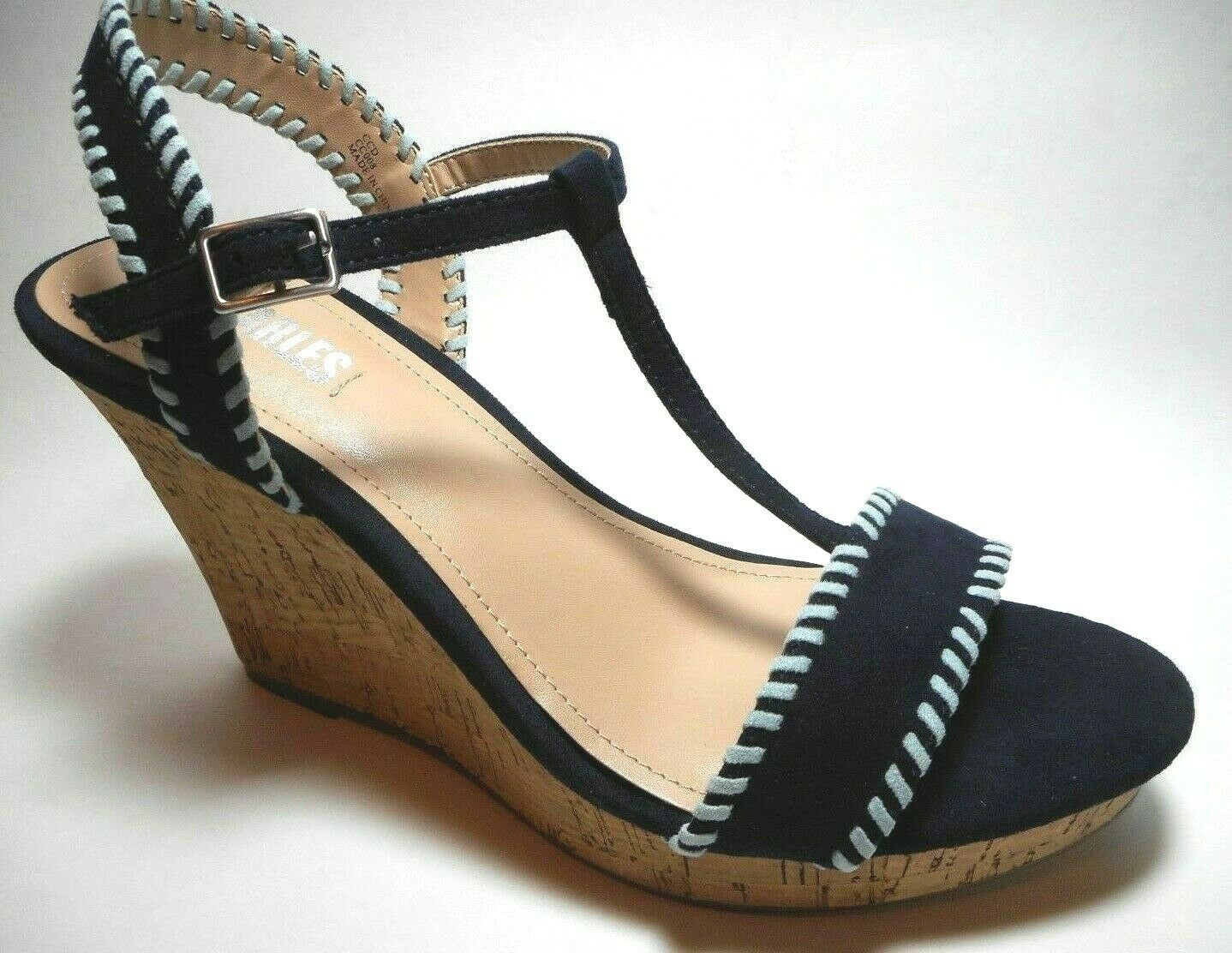 BRAND NEW STYLE CHARLES Size 9M Navy Velour Fabric High Heel Wedge Sandal Shoes