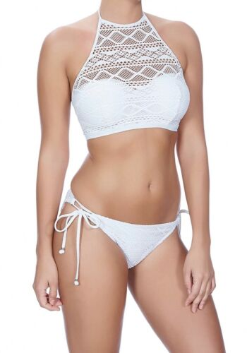 Freya Sundance Bikini Set White Padded High Neck Halter Top Rio Tie Sides Brief