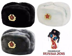 acec9984fe7fa2 Russians Winters Hat Ushanka With Rus Badge Chapeau d'hiver 3 colors ...